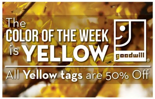 The Color of the Week is YELLOW! All YELLOW tags are 50% off!